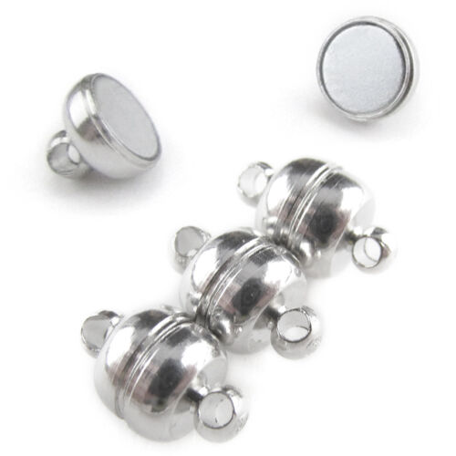Jewelry Shiny Drum Style 20 Magnetic Clasp Converters Shiny Silver Color