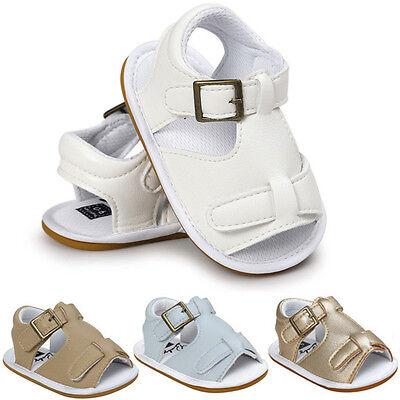 Infants Newborn Baby Boys Summer Sandals Crib Prewalker Anti-slip Shoes 0-18M