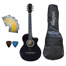 Bluegrass A180C BK Medium Acoustic Guitar Black With Free Case, String & Picks