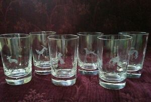 Orrefors-SQUARE-BASE-Etched-Animal-Barware-Tumblers-Set-6-Signed-FREE-U-S-SHIP