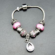 European Charms Bracelet Murano Glass Pink Crystal Beads 925 Silver Bangle