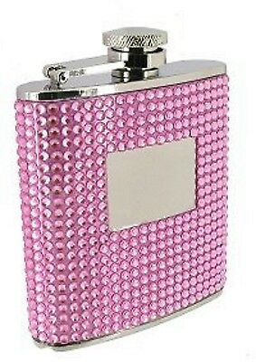 Enthusiastic Personalised Bling Pink Stainless Steel & Crystal Ladies 6oz Hip Flask Fl54 With The Most Up-To-Date Equipment And Techniques Home & Garden Kitchen, Dining & Bar