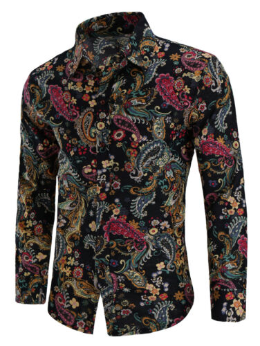 Fashion Printed Mens Casual T Shirt Slim Fit Button Long Sleeve Dress Shirts Top