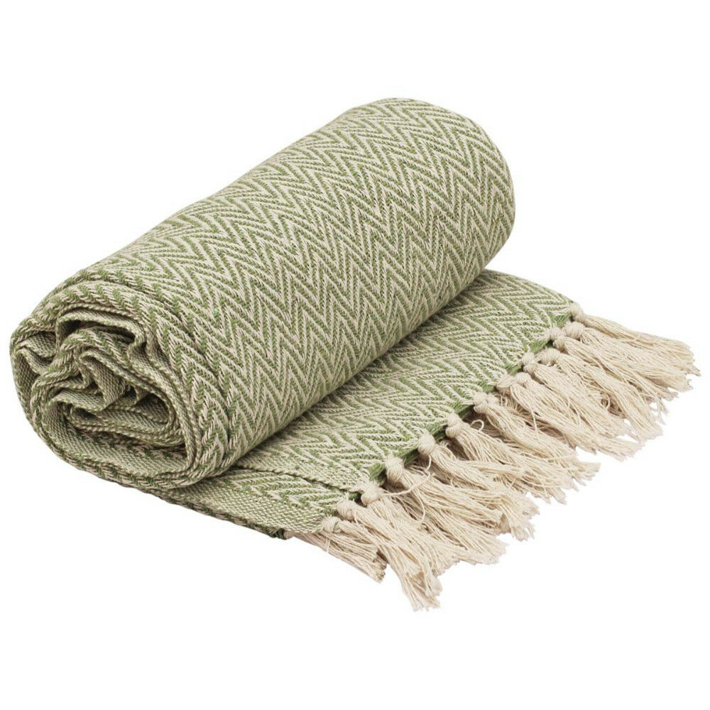 Soft Knitted Cotton Chevron Pattern Throw Blanket With Tassels Green White color