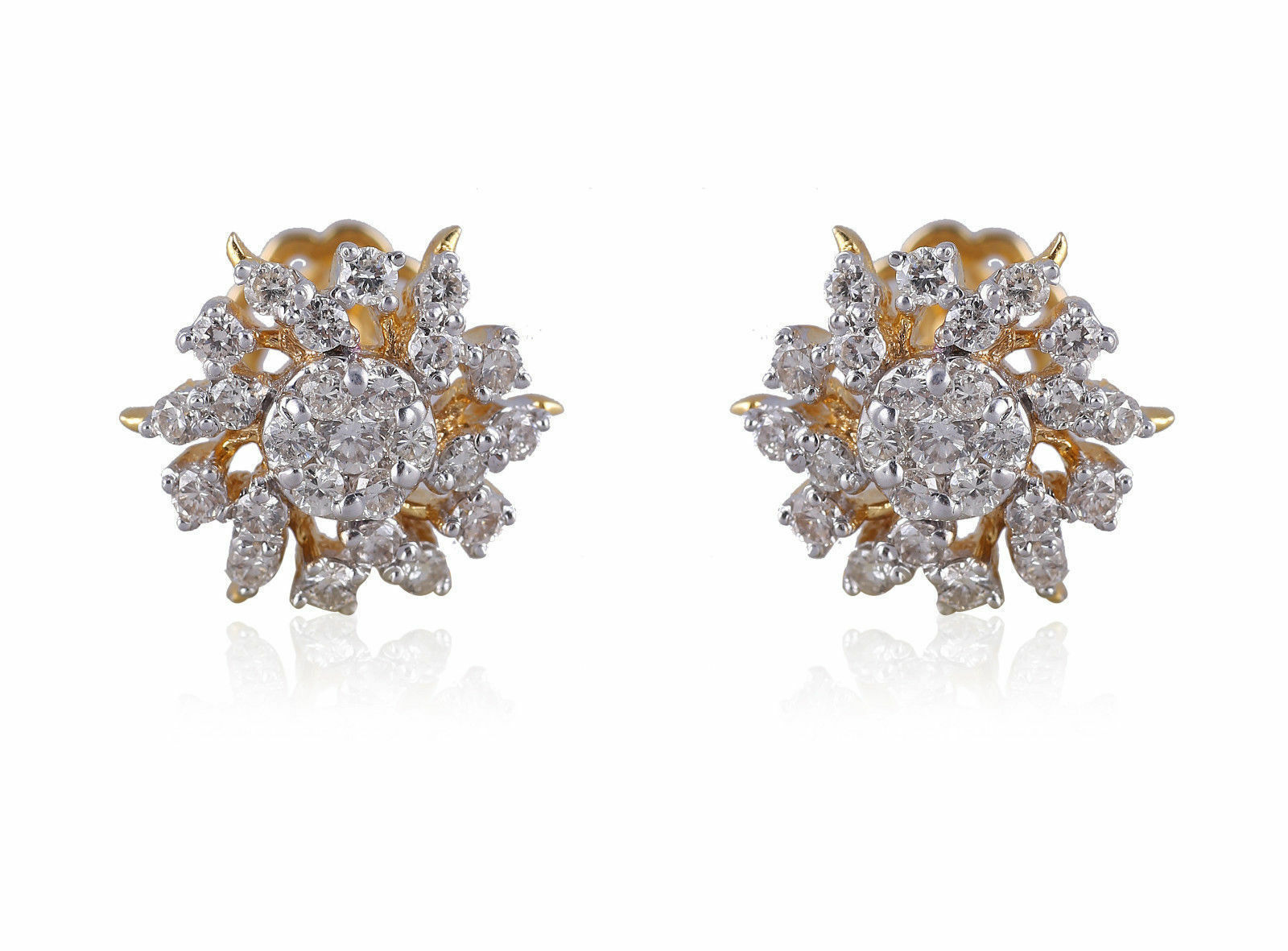 1.26 Cts Round Brilliant Cut Pave Diamonds Stud Earrings In Solid 14Karat gold