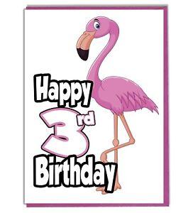Fenicottero Rosa 3 Biglietto Di Auguri Compleanno Ragazze