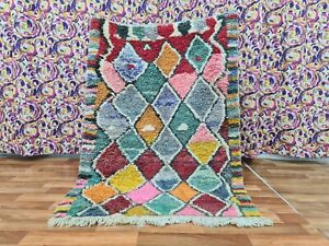Vintage Boujaad Moroccan Handmade Rug 3ft7x5ft1 Multicolored Geometric Area Rug