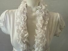 NWOT White Cotton Spandex Ruffled Shrug Bolero Girls Sz L 14/16 Dillards