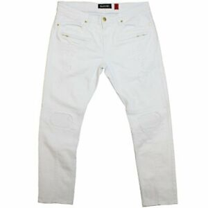Makobi White Biker W// Blasting /& Repair Stitching Jeans