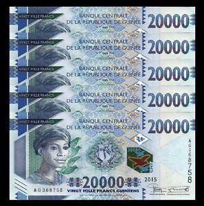 GUINEA 10000 10,000 FRANCS 2012 UNC 2 PCS CONSECUTIVE PAIR P.46 WM SERIAL