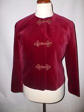 VINTAGE Eastex Ruby Red RUSSO Giacca di velluto di cotone taglia 12 British made