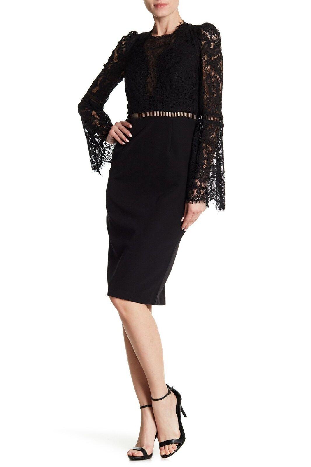 NWT Bardot Lace Bodice Bell Sleeve Eyelet Cocktail dress schwarz Sz 4 XS NWT