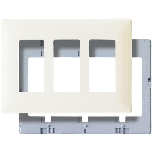 Pass /& Seymour SWP263LABPCC10 Screw Less Wall Plate Plastic Sub Plate Three Gang