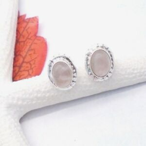 Rosenquarz-oval-rosa-Nostalgie-Design-Ohrringe-Ohrstecker-925-Sterling-Silber