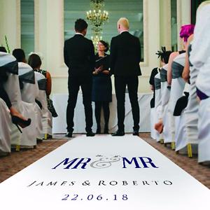 Personalised GAY/CIVIL CEREMONY WEDDING AISLE RUNNER. Carpet Decoration. 20-30ft