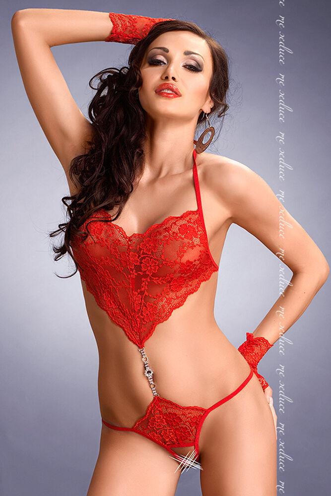 Body red - Spitze - Strass - Monokini - Dessous Eredisch  Gr  S M-L XL-XXL XXXL