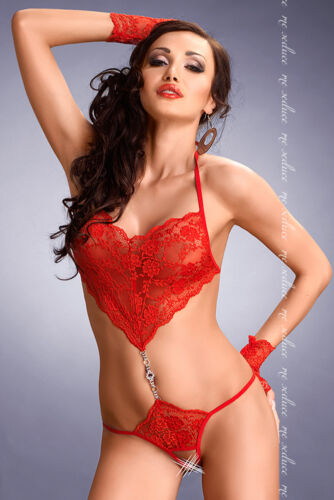 Monokini Body ROT Strass Spitze Dessous Erotisch  Gr  S//M-L//XL-XXL//XXXL