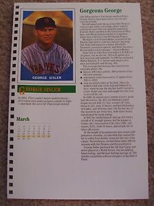 George-Sisler-1987-Baseball-Card-Engagement-Book-w-1960-Fleer-All-Time-Greats