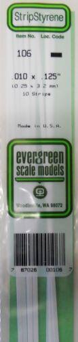 Evergreen Strip Styrene 106 10 x .010 x.125 Strips