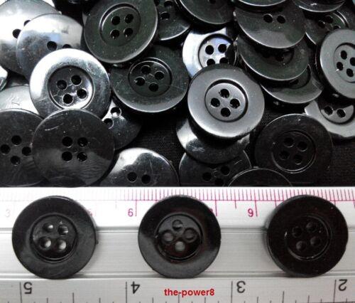 50 Pcs Noir 4 Trous 20 mm Boutons À faire soi-même Couture pour enfants Craft