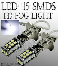 JDM 2X High Power H3 6000K White 15W LED 800LM Fog Driving DRL Light Bulb Lamp