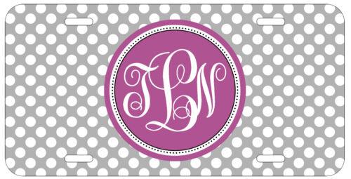 Personalized Monogrammed Polka Dots Purple Grey License Plate Custom Car L073