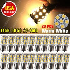 20x Warm White 1156 Ba15s RV Camper Trailer 5050 27-SMD LED Interior Light Bulbs