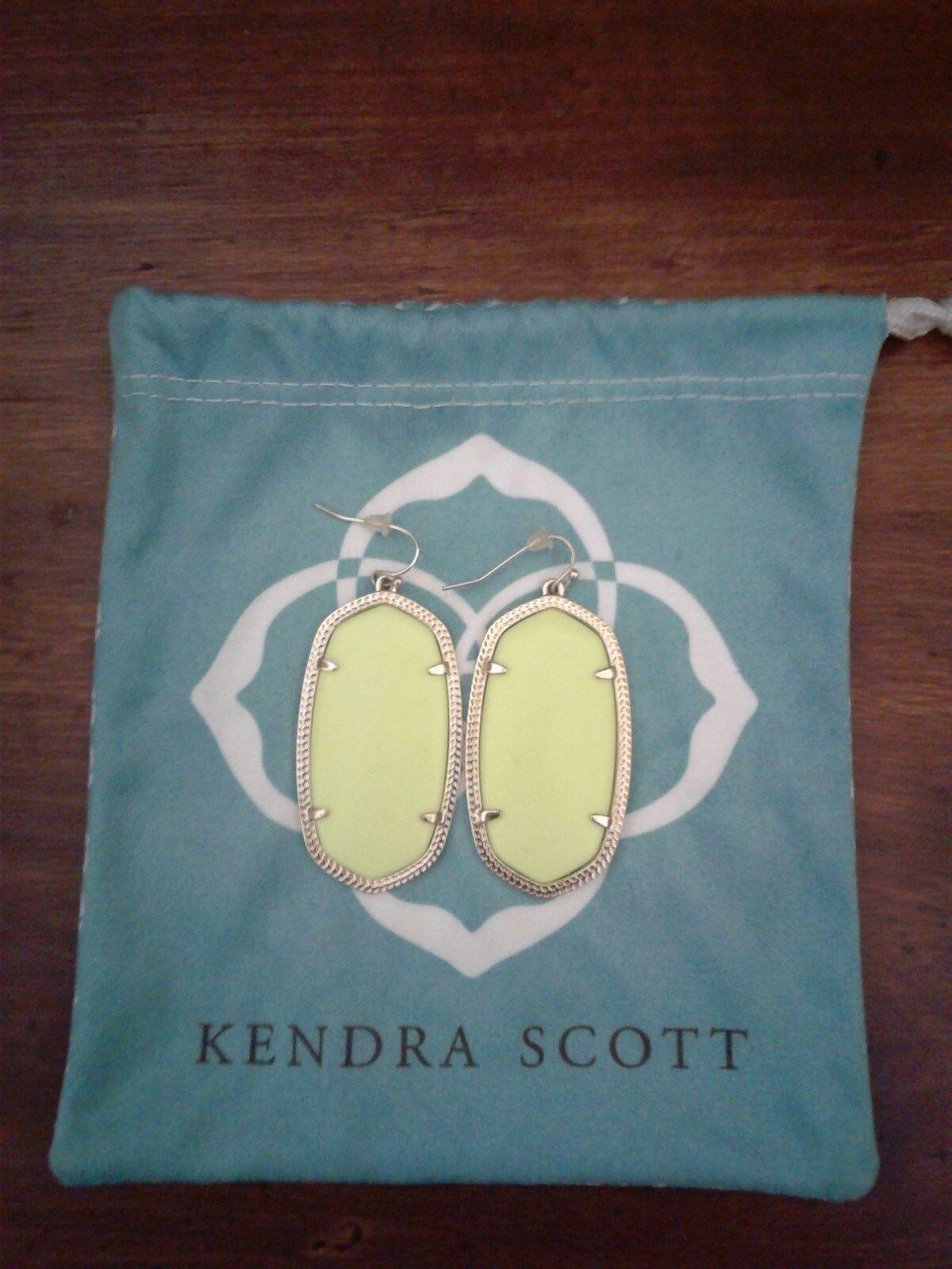 Kendra Scott Neon Yellow Danielle Earrings Rare