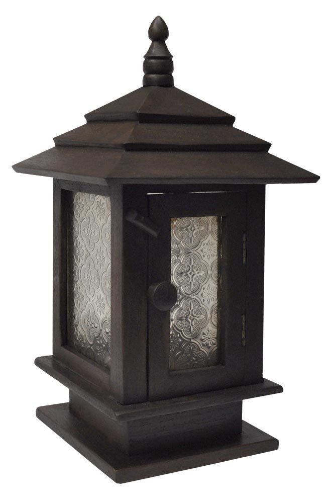 Lanterne en bois fabriquée à à à la main importée de Thaïlande (15204) 4ce7ad