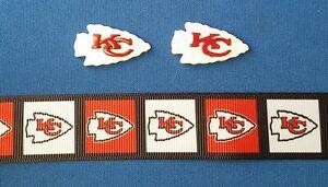 NFL-KC-CHIEFS-LOGO-Football-Hair-Bow-Supplies-KIT-2-yd-Ribbon-and-2-Resin