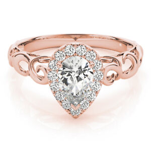 Filigree Ring Women Wedding Ring Simulated Diamond Ring Yellow Gold Pear Shaped Engagement Ring Halo Ring With Accented