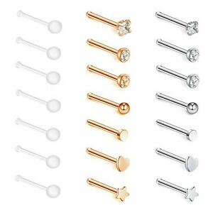21PCS-20G-Stainless-Steel-Nose-Ring-Studs-Bone-Pin-Clear-Retainer-Body-Piercing
