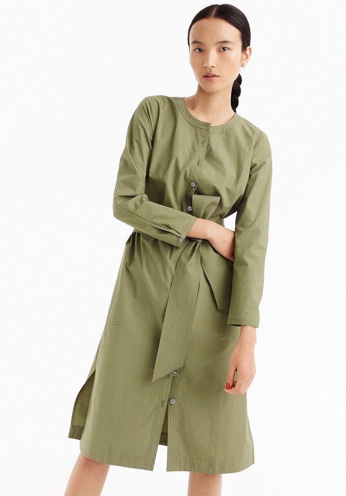 NWT JCrew Size S Women Long-Sleeve Shirtdress Green Green Green Olive Faded Glory ( 98) 080557