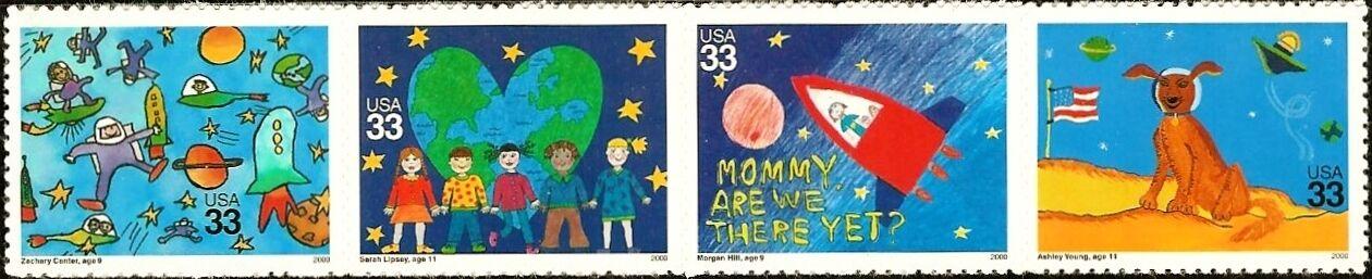 "2000 33c ""Stampin' the Future, Children's Strip of 4 Sc"