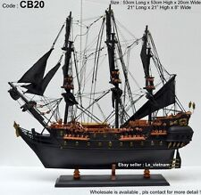 """CB20 # Black Pearl Caribbean Pirate 21"""" Wooden Model Tall Ship Boat Home Office#"""