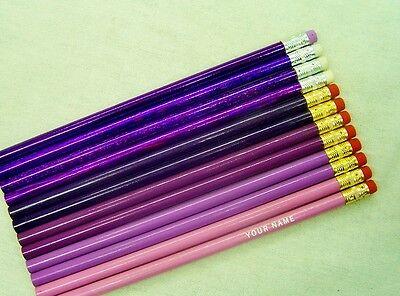 "12  ""Shades of Purple"" Personalized Pencils w/Glitzy"