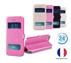 Coque-Etui-Housse-double-fenetres-avec-rabat-pour-Iphone-au-choix