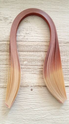 10mm wide shaded quilling paper strips 50 dark centered brown graduated