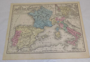 Map Of Spain Portugal And France.1852 Antique Color Map France Spain Portugal And Italy