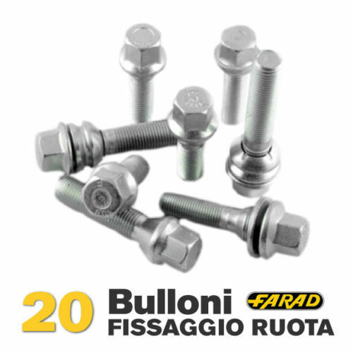 Kit 20 bulloni ruota Lancia Ypsilon Musa cerchi in acciaio e in lega Farad