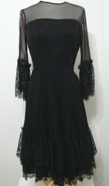 VINTAGE 40's Dress Black Chiffon Silk Scallop French Lace Tiered Skirt Pleated S