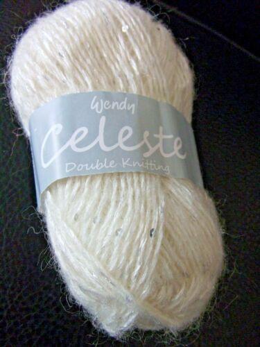 5 x 50 g Wendy Celeste Sequin Double Tricot Laine//Fil pour TRICOT//CROCHET