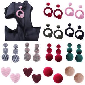 Fashion-Women-Heart-Round-Velvet-Button-Ear-Stud-Drop-Dangle-Earrings-Jewelry