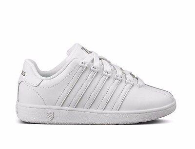 K-Swiss Classic White Leather 53343-101 Preschool KIDS Shoes