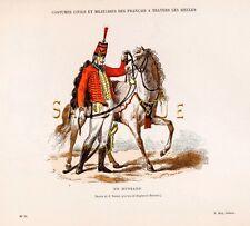 "UN HUSSARD - from 'COSTUMES DE PARIS"" - Hand-Col.Litho -1880"