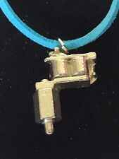 """Tattoo Gun TG55 Fine English Pewter On 18"""" Blue Cord Necklace"""