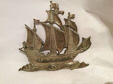 Vintage Latón Barco/Barco En Forma De Placa Colgante De Pared Decoración De La Pared
