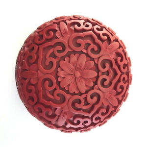 Vintage-Chinese-Carved-Cinnabar-Red-Lacquer-Seal-Paste-Box-amp-Cover-20th-C