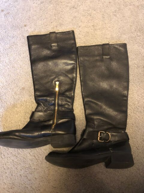 952b940cf09 VINCE CAMUTO RIDING STYLE BOOT black pebbled LEATHER mid calf zip sz 9B