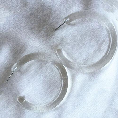 Fashion Simple Cute Resin Geometry Round Transparent Hoop Earrings Girl Jewelry